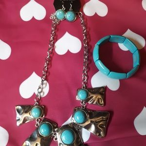 Turquoise  necklace bracelet set
